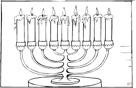 Small Picture Eight brached menorah with burning candles coloring page Free