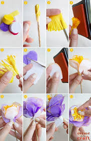 Flower Making With Crepe Paper Step By Step Diy Crepe Paper Flowers From Party Streamers How To Make Streamers
