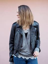 real leather jacket outfit casual with grey zara jumper