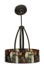 modern stained glass bronze pendant light