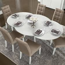 caligula white high gloss glass round 7 piece extending dining table set f d interiors ltd