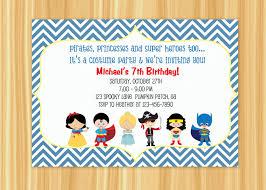 Kids Costume Party Birthday Invitation Blue Or Orange