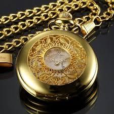 mens gold pocket watches pocket watch ks half hunter series mens analog quartz gold steel case chain