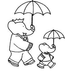 Small Picture Babar the Elephant and Pom Holding Umbrella Coloring Pages Batch