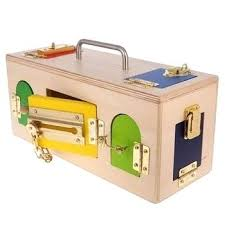 wooden lockable toy box en china import education standing lock lock box wooden activity toy