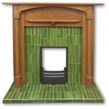 voysey 1920s style tiled fireplace insert in green tiles