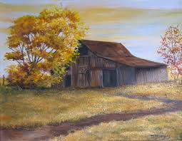 at day s end old barn acrylic painting