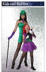 child girls joker and womens riddler costume duo