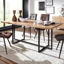 Esstisch Massivholz Metall 180x78x90cm Industrial Tisch Groß Esszimmertisch Massiv Akazie Mango Küchentisch Holztisch Esszimmer Moderner