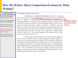 How To Do A Presentation Outline How Do Writers Show Comparison Contrast In Their Writing