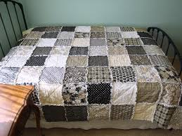 28 best Crafts - quilts images on Pinterest | Comforters ... & QUEEN Size Rag Quilt, Neutral Tones, Black, Cream, Tan and Grey, Adamdwight.com