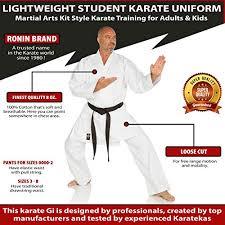 Ronin Gi Size Chart Ronin Karate Gi Lightweight Student Karate Uniform