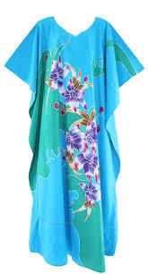Blau Baumwolle Caftan Kaftan Hauskleid Nachtw Sche Gr 54 56 2x 3x