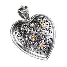 gerochristo 3239 solid 18k gold sterling silver large filigree heart pendant