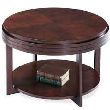 chocolate cherry round condo apartment coffee table ch leick furniture mission 2 drawer full size