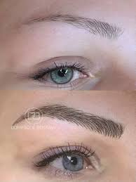 eyebrows after the micro color infusion treatment of dominique bossavy permanent makeup artist