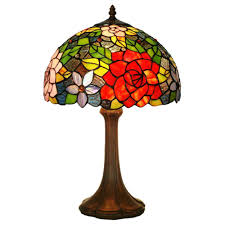 fumat 12 tiffany style stained glass table lamp romantic two tone rose design