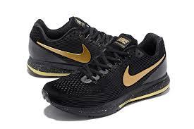 nike air zoom pegasus 34 leather black metal gold men running shoes sneakers 831351