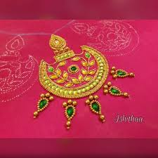 Aari Design Book Ishithaa Chandbali Design On Cold Shoulder Blouse Work On