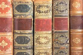 old leather bound book spines stock photo 4235387