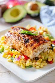 fresh mahi on top of corn salad