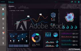 Web App Charts Dark Dashboard Infographic Template Modern Web App Ui With