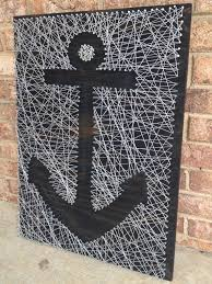 Etsy: - Anchor nail and string art - silver metallic string on ebony wood  stained board