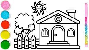 Vẽ ngôi nhà vườn cây đơn giản và tô màu cho bé | Dạy bé vẽ | Dạy bé tô màu  | Rumah Halaman Mewarnai | Tổng hợp những bức tranh đẹp