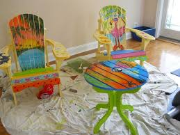 tropical painted furniture. i have always wanted to try painting a tropical scene on an adirondack chair like at painted furniture