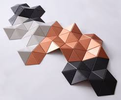 geometric wood art copper wall art wall