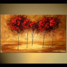 red tree tops landscape trees light home decor