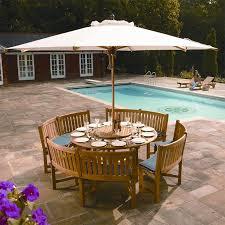 round teak picnic table with umbrella