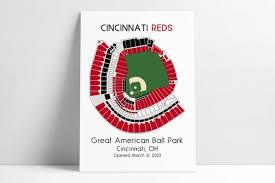 Cincinnati Reds Mlb Stadium Map Ballpark Map Baseball Stadium Map Gift For Him Stadium Seating Chart Man Cave
