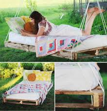 Good Looking Bedroom Decoration Using Shipping Pallet Bed Frame :  Fascinating Garden Decoration Using Swing Hanging