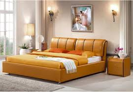 GENUINE LEATHER BED LUXURY STYLE GOLDEN SIMPLE FASION DOUBLE