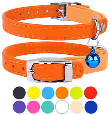 leather cat collar breakaway safety collars elastic strap for x small cats kitten with bell orange com