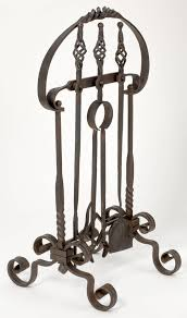hand forged iron fire place tool set 2