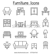 stock vector basic furniture icon set in thin line style