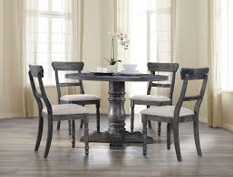 acme 74640 74642 5pc weathered gray round dining table w pedestal 4 chairs