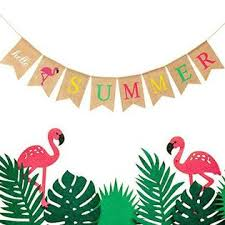 <b>Blulu Hello Summer</b> Burlap Banner Rustic Summer Banner with ...