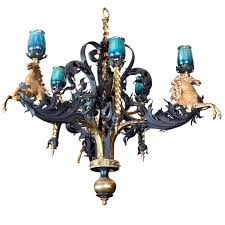 antique iron and bronze gold gilded horse head chandelier for