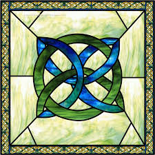 celtic knot square blue decorative window