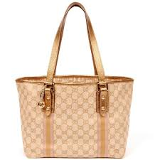 gucci tote. gucci 5182 gg canvas w/ webbing beige gold and pink strip tote bag (authentic