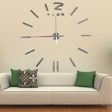 Decorative Wall Clocks For Living Room Unique Modern Art Design Silver Big Mirror Acrylic Decorative Wall