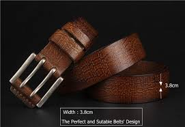 new import italy cowskin vintage fashion mens belts luxury double pin buckle wide leather strap for