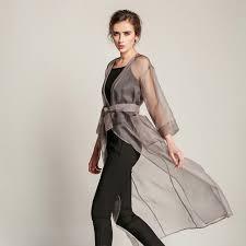 2016 women summer coat solid silk transpa sunscreen long trench coats v neck las trench
