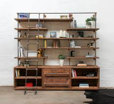bos reclaimed chestnut stained scaffolding board dark steel pipe shelving unit with drawers and copper powder coated adjule fittings