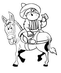 Disegno Di Uomo Buffo A Cavallo Da Colorare Per Bambini