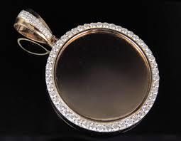 14k rose gold real diamond memory photo frame medallion pendant 2 1 2 ct 2 25