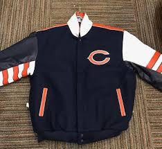 chicago bears throw back jh design wool leather jacket orange to enlarge